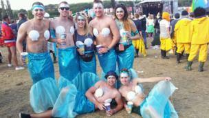 Friends dressed as mermaids