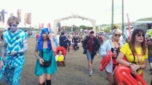 Festival goers arrive at Bestival