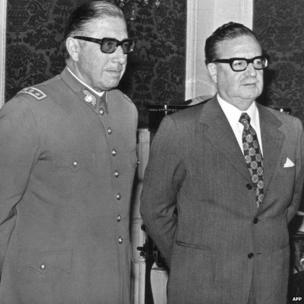 General Augusto Pinochet (left) poses with Chilean president Salvador Allende