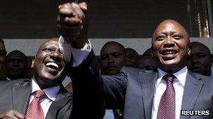 William Ruto and President Uhuru Kenyatta (R)