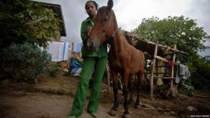 Bekelech Bezuneh with her horse