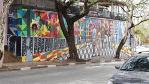 Mural on Calvary Church wall, Sao Paulo