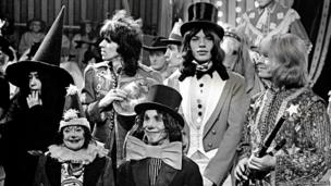 Yoko Ono, Keith Richards, Mick Jagger and Brian Jones at The Rolling Stones Rock and Roll Circus