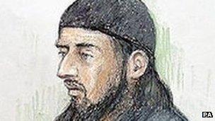 Artist's impression of Haroon Rashid Aswat