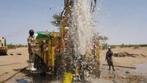 Water gushing out of a borehole at Napuu area during the flushing process, Kenya