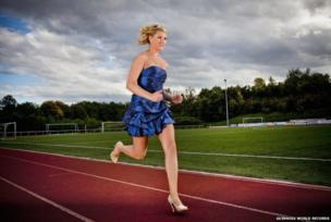 Julia Plecher running in heels