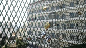 Padlocks are seen at the Telemly bridge in Algiers on 7 September 2013