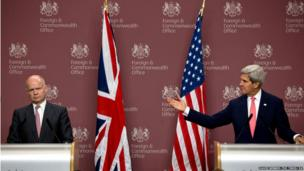 US Secretary of State John Kerry during a joint press conference in London with Foreign Secretary William Hague