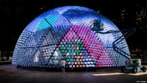 Giant lantern made of 7,000 recycled plastic bottles and other recyclable materials