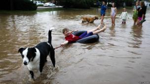 A dog pulls a boy through floods in Colorado