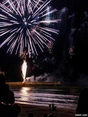 Fireworks explode over the bay in St. Andrews, Scotland. Photo: Henry Legg