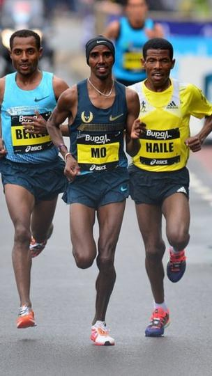 Great Britain's Mo Farah, Ethiopia's Kenenisa Bekele Ethiopia's Haile Gebrselassie