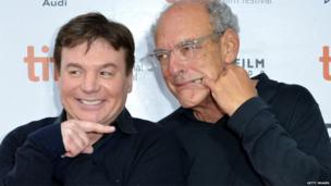Mike Myers and Shep Gordon, promoting Supermensch: The Legend Of Shep Gordon