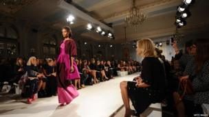 A model presents a creation by Temperley during the 2014 Spring/Summer London Fashion Week in London on September 15, 2013