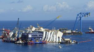 A wide view of the Costa Concordia tipped on its side surrounded by equipment and water going up to the horizon.