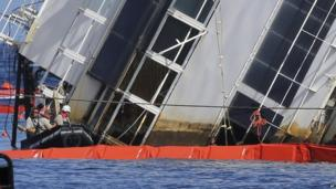 Three members of the salvage operation on a dinghy next to the Costa Concordia. A muddy line marks the parts of the ship that had been under water.
