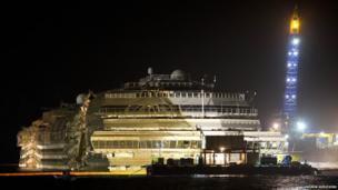 Costa Concordia stands upright in shallow seas