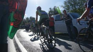 Riders climbing Caerphilly Mountain