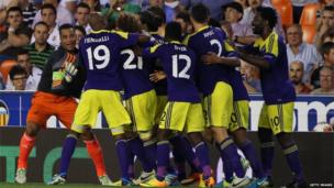 Swansea players celebrate their victory