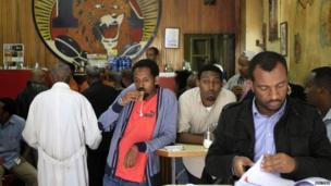 Customers at the Tamoka coffee bar in Addis, Ababa, Ethiopia - Monday 16 September 2013