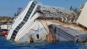 Costa Concordia, turned on it's side, still half submerged in water. Photo: Ruairidh Barnes