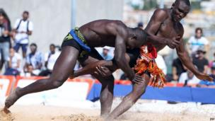 Senegal's Omar Diuoane (L) takes of Irahim Tassiou from Niger compete at the Francophonie Games in Nice, France - Saturday 14 September 2013