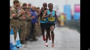 Ethiopia's Kenenisa Bekele and UK runner Mo Farah competing in the Great North Run, UK - Sunday 15 September 2013