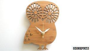 Bamboo owl clock