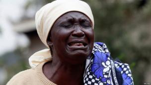 Mary Italo mourns the death of her son Thomas Italo who was killed during the attack at the Westgate Shopping Centre in the capital Nairobi, 25 September, 2013.