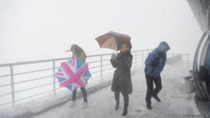 Journalists brave the weather in the Russian city of Sochi