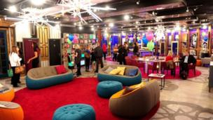 Guests in the Big Brother house living room on the opening gala night