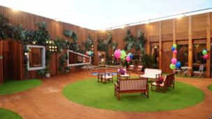 The garden of the Big Brother house living room on the opening gala night