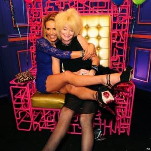 Former contestants Sophie Anderton and Lauren Harries in the Big Brother house living room on the opening gala night
