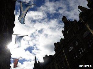 Flags of Scotland, the EU and the union jack
