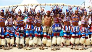 Zulu dancers dressed in traditional outfits perform during the ' Zulu 200' festival celebrating the existence of the Zulu Nation