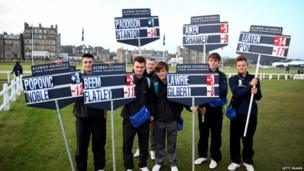Match scoreboard holders during the third round of the Alfred Dunhill Links Championship on The Old Course, at St Andrews