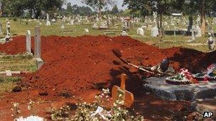 A gravedigger in Kenya, 28 September 2013