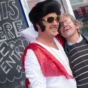 Man with Elvis impersonator