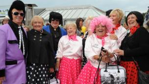 Visitors to the Porthcawl Elvis Festival in south Wales