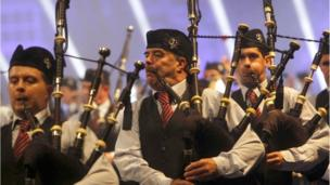 Bagpipe performers on stage at the Belfast Tattoo