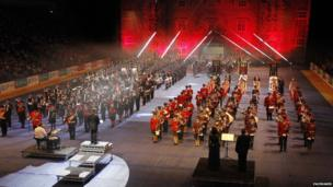 Performers on stage at the Belfast Tattoo
