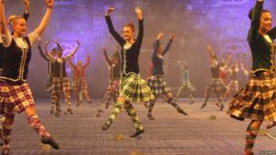 Highland dancers on stage at the Belfast Tattoo