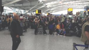 Passenger queue at Heathrow Airport. Photo: Simon Frusher