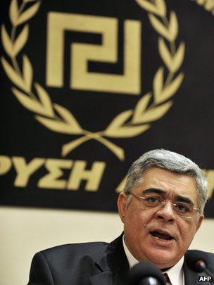 Nikolaos Michaloliakos at a news conference in Athens in May 2012
