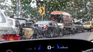 Inside a car during a trafffic jam