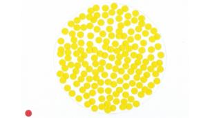Group of yellow dots with one lone red dot