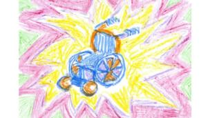 Wheelchair drawn with crayons