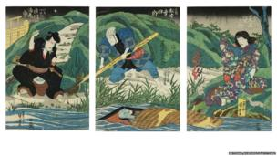 Onbō Canal scene from the play Ghost Stories at Yotsuya on the Tōkaidō, 1836 by Kuniyoshi. In this gritty, 'raw real-life play,' Tamiya Iemon (left) tires of his wife O-Iwa after she gives birth and poisons her so that he can marry his neighbour's attractive young daughter. He then kills his servant, Yohei, and nails both bodies to a door, which is dumped in the canal. This print shows the horrific moment when he is out fishing and the decomposing corpses reappear.