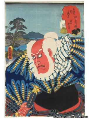 The period following the Tenpo reforms of the 1840s was the era of the prolific artist Kunisada, who produced tens of thousands of designs over a long career. He produced many three-sheet compositions, but his greatest works are the single-sheet prints that zoom in on a single actor in role.