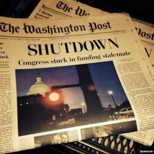 The Washington Post front page leads with news of the US partial government shutdown